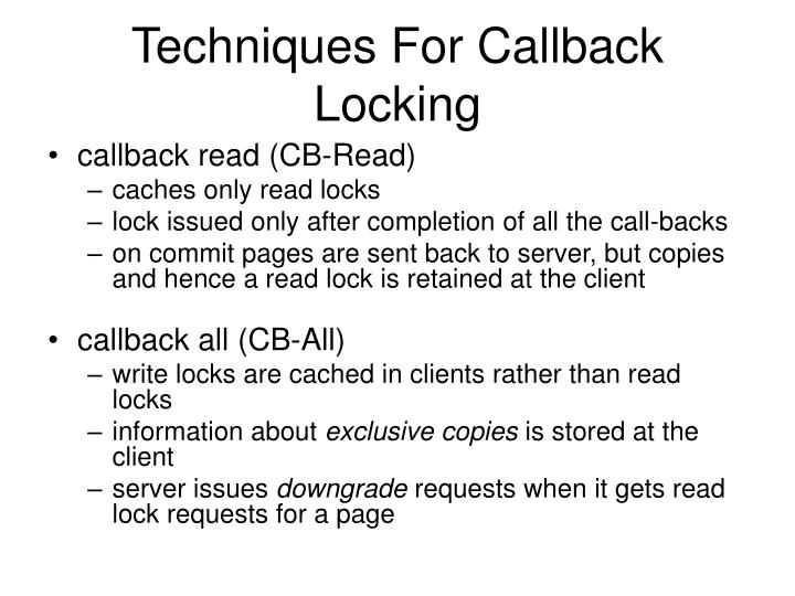 Techniques For Callback Locking