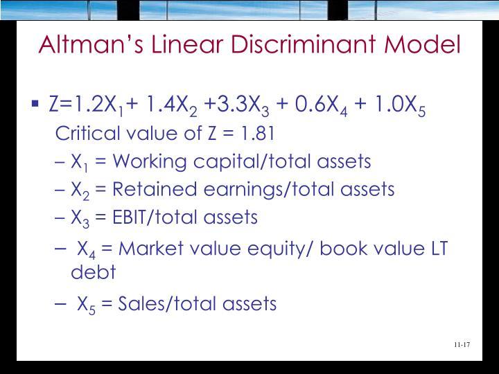 Altman's Linear Discriminant Model
