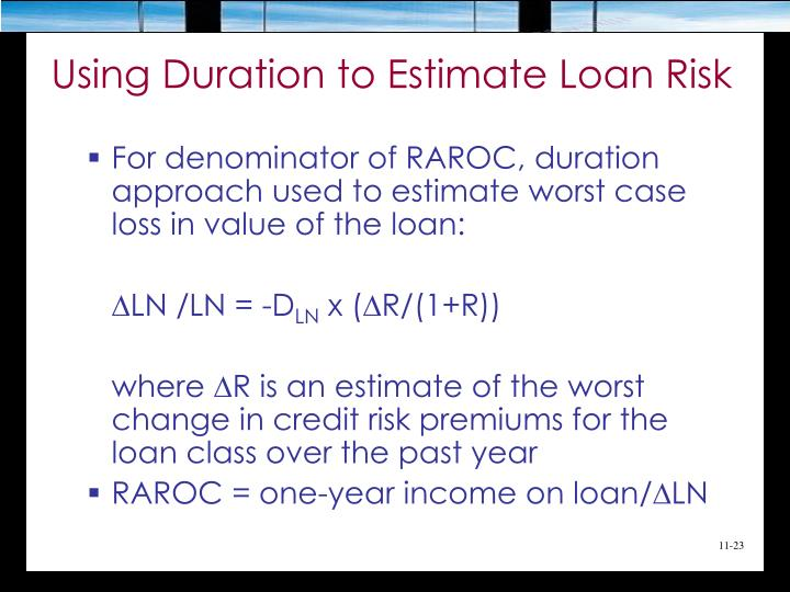 Using Duration to Estimate Loan Risk