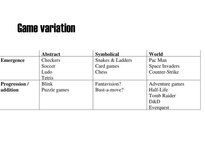 Game variation