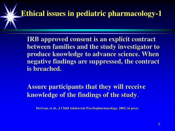 Ethical issues in pediatric pharmacology 1