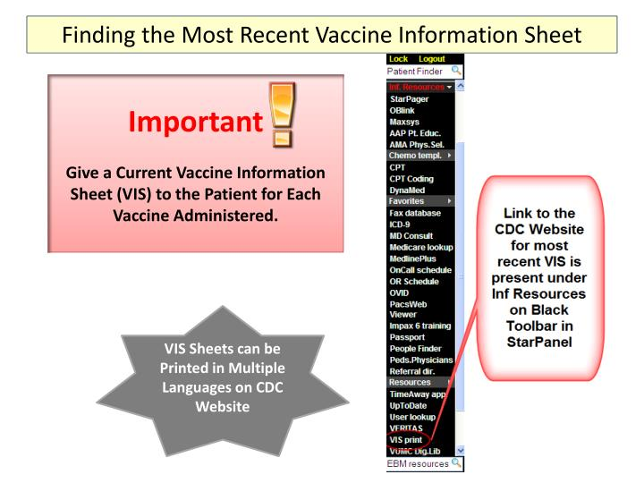 Finding the Most Recent Vaccine Information Sheet