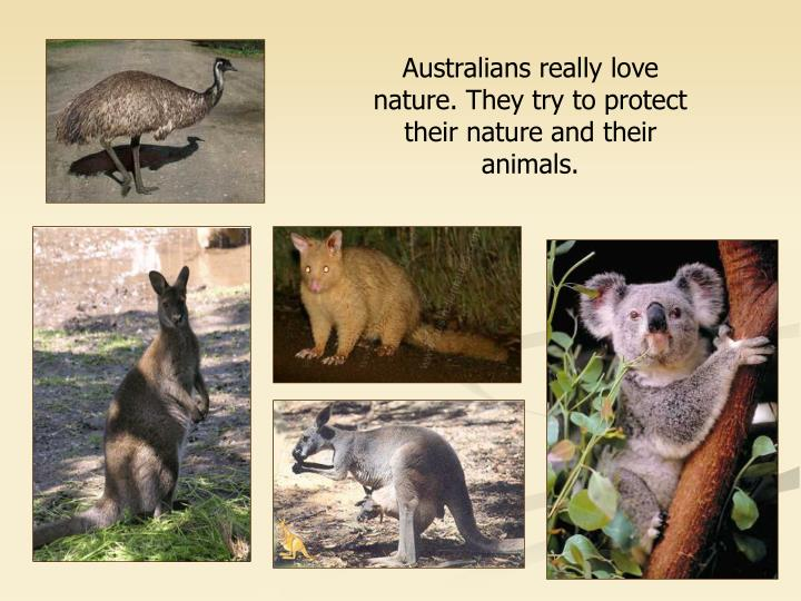 Australians really love nature. They try to protect their nature and their animals.