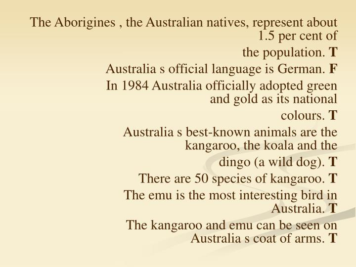 The Aborigines , the Australian natives, represent about 1.5 per cent of