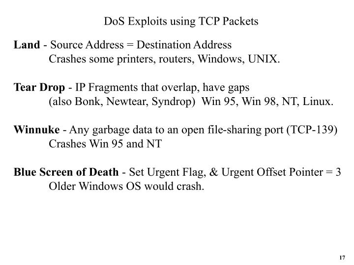 DoS Exploits using TCP Packets