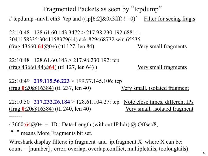 Fragmented Packets as seen by