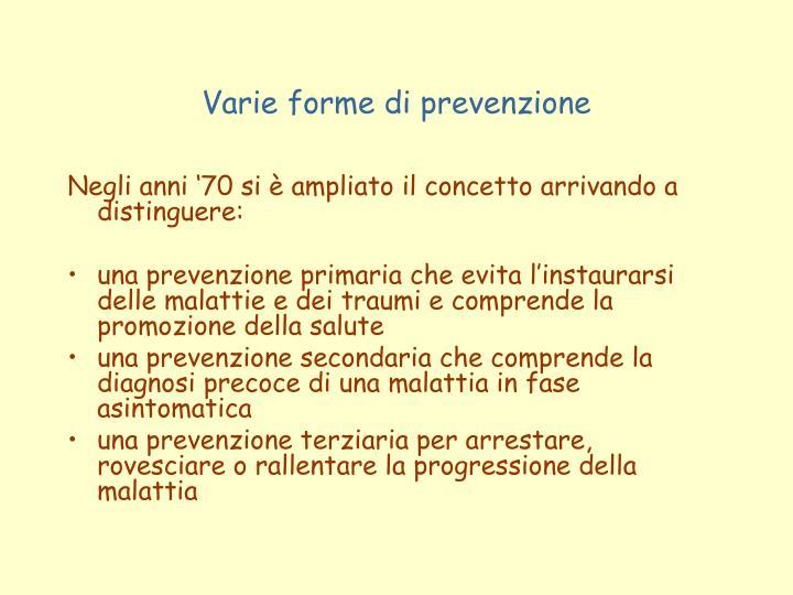 Varie forme di prevenzione