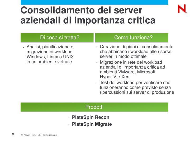 Consolidamento dei server aziendali di importanza critica