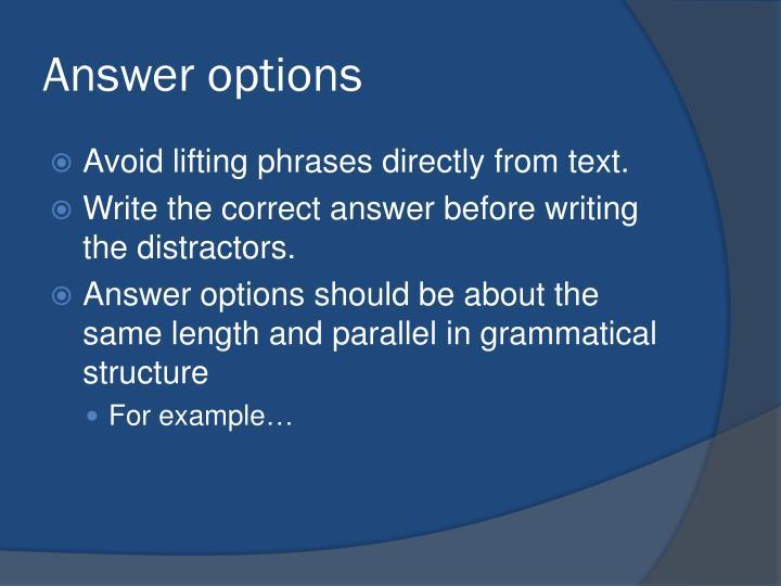 Answer options