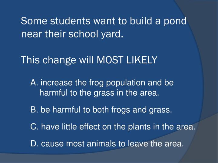 Some students want to build a pond near their school yard.