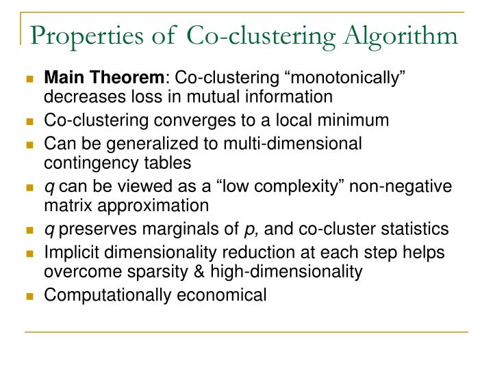 Properties of Co-clustering Algorithm