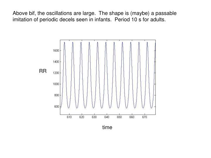 Above bif, the oscillations are large.  The shape is (maybe) a passable imitation of periodic decels seen in infants.  Period 10 s for adults.