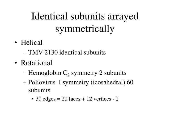 Identical subunits arrayed symmetrically
