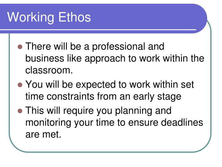 Working Ethos