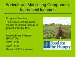 agricultural marketing component increased incomes