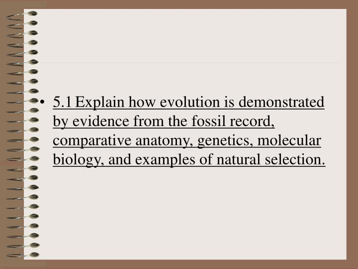 5.1Explain how evolution is demonstrated by evidence from the fossil record, comparative anatomy, genetics, molecular biology, and examples of natural selection.