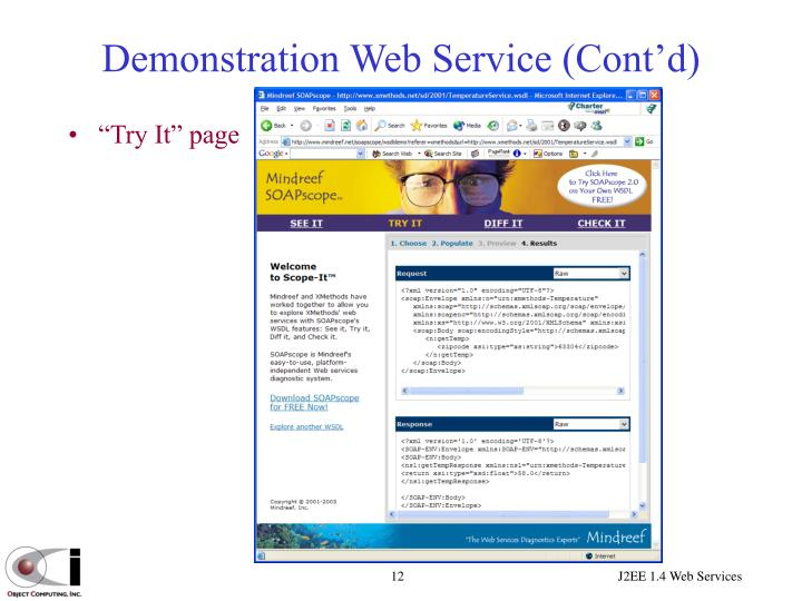 Demonstration Web Service (Cont'd)