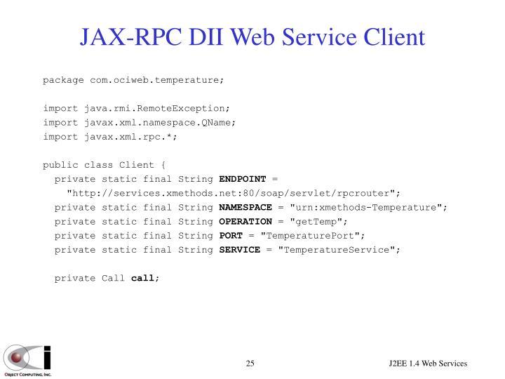 JAX-RPC DII Web Service Client