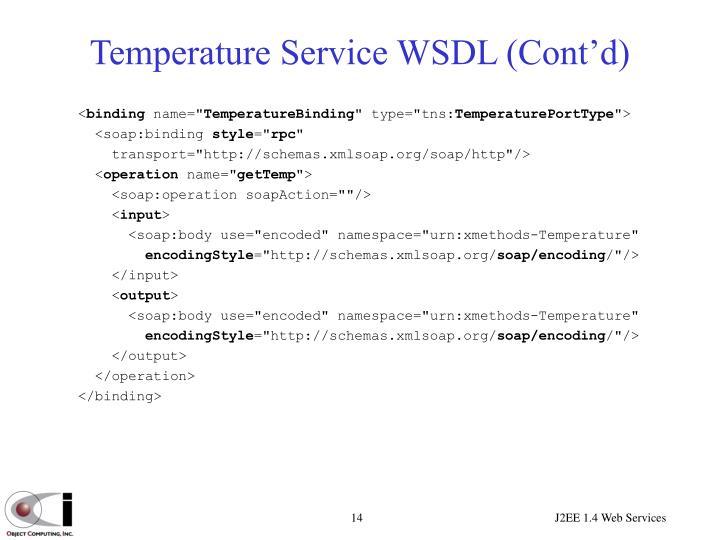 Temperature Service WSDL (Cont'd)