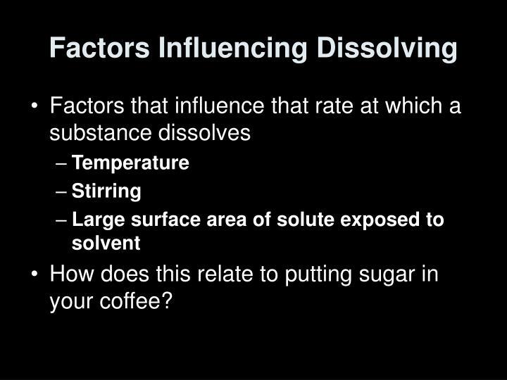 Factors Influencing Dissolving