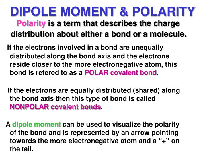 DIPOLE MOMENT & POLARITY
