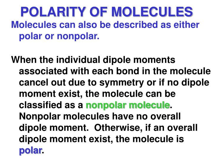 POLARITY OF MOLECULES