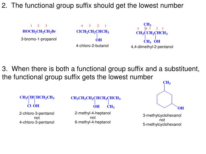2.  The functional group suffix should get the lowest number