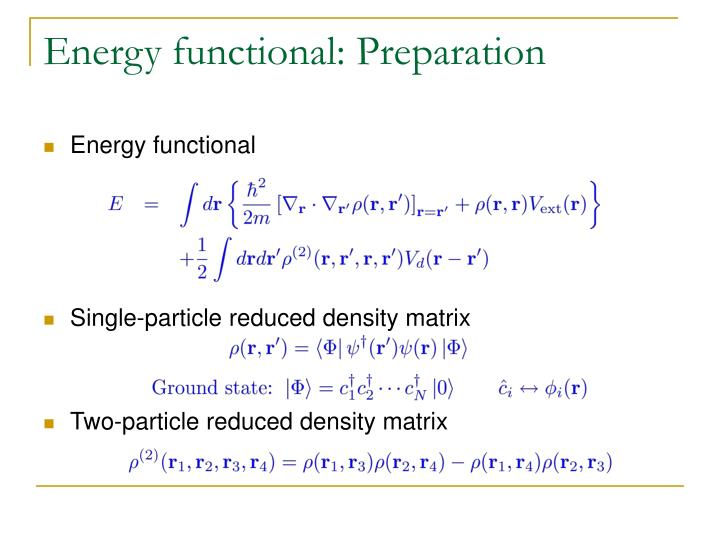 Energy functional: Preparation