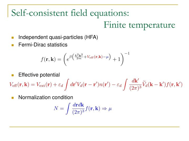 Self-consistent field equations: