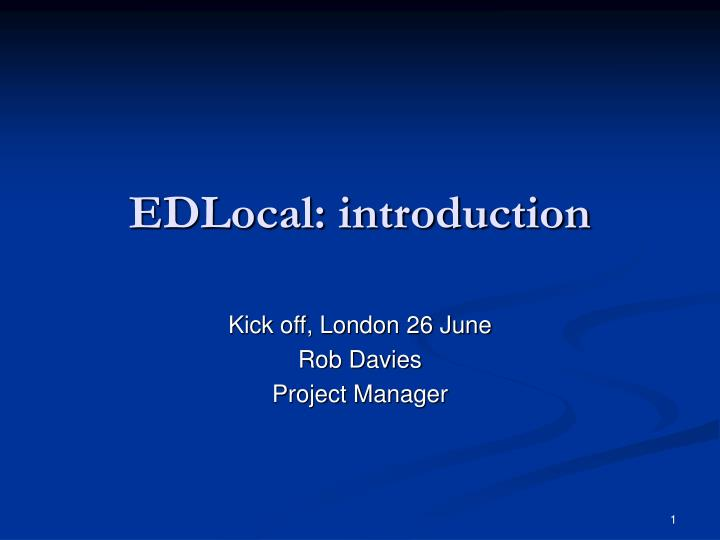 Edlocal introduction