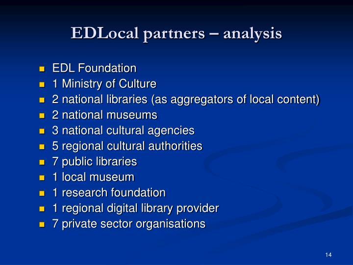 EDLocal partners – analysis