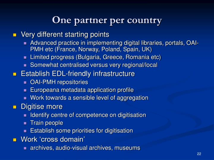One partner per country