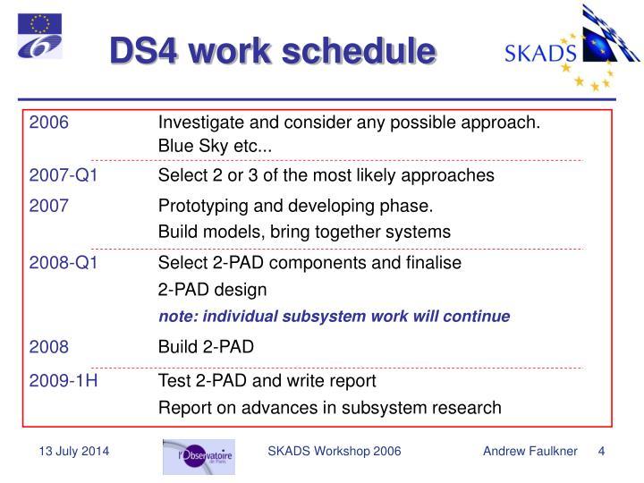 DS4 work schedule
