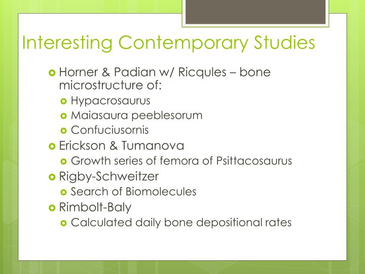 Interesting Contemporary Studies