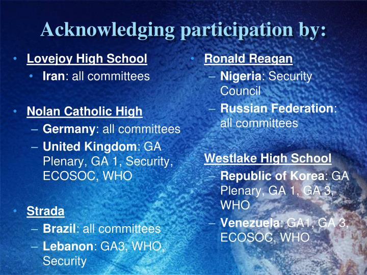 Acknowledging participation by: