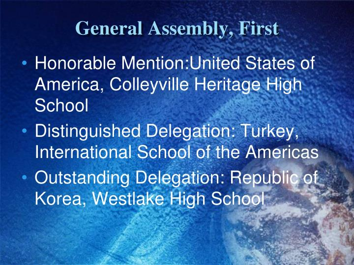 General Assembly, First