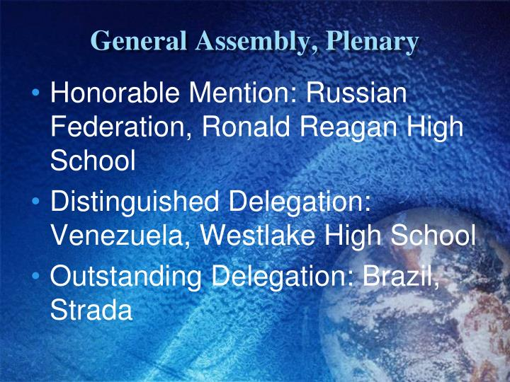 General Assembly, Plenary