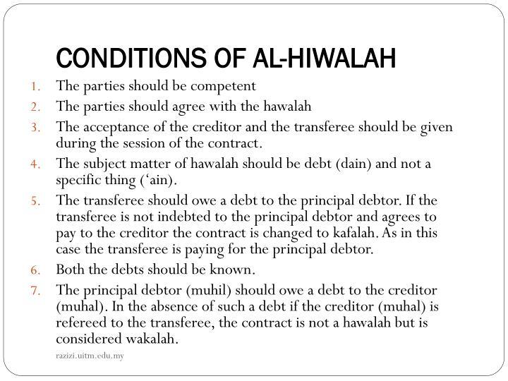 CONDITIONS OF AL-HIWALAH