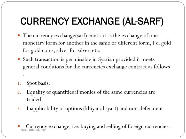 CURRENCY EXCHANGE (AL-SARF)