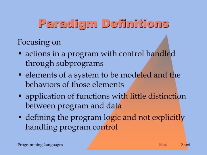 Paradigm Definitions