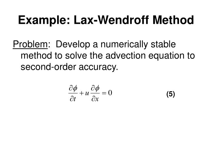 Example: Lax-Wendroff Method