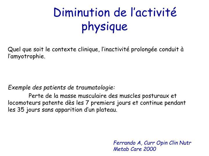 Diminution de l'activité physique