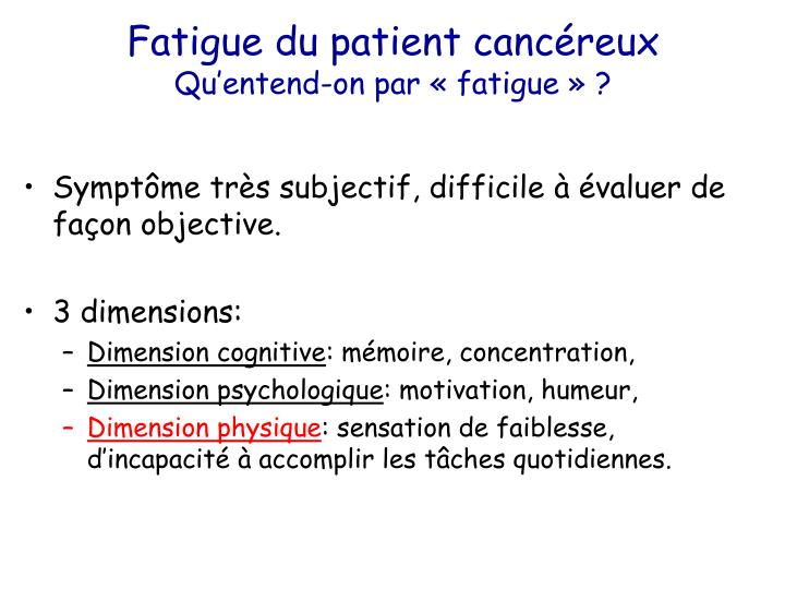 Fatigue du patient cancéreux