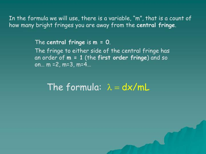 "In the formula we will use, there is a variable, ""m"", that is a count of how many bright fringes you are away from the"