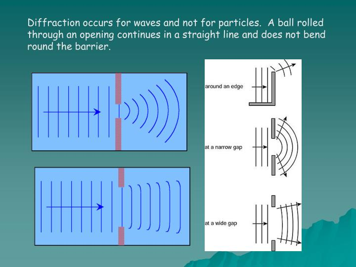 Diffraction occurs for waves and not for particles.  A ball rolled