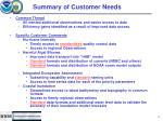 summary of customer needs