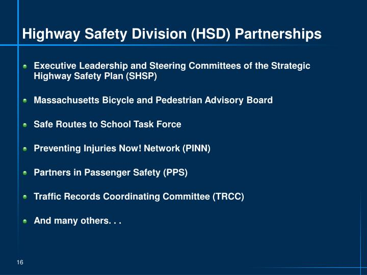 Highway Safety Division (HSD) Partnerships