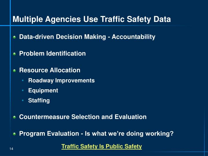 Multiple Agencies Use Traffic Safety Data