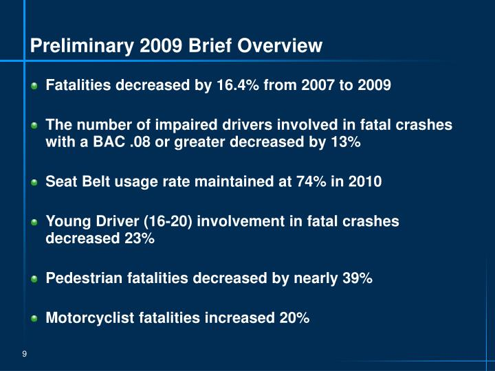 Preliminary 2009 Brief Overview