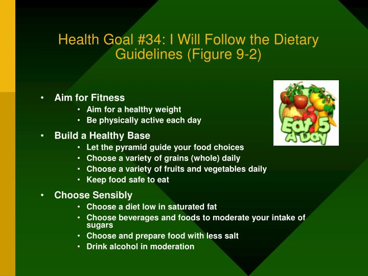 Health Goal #34: I Will Follow the Dietary Guidelines (Figure 9-2)